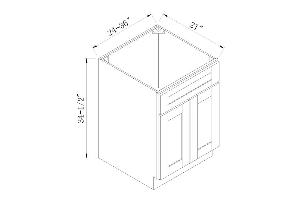 BATHROOM CABINETS - 24 Width Sink Vanity Base Cabinets