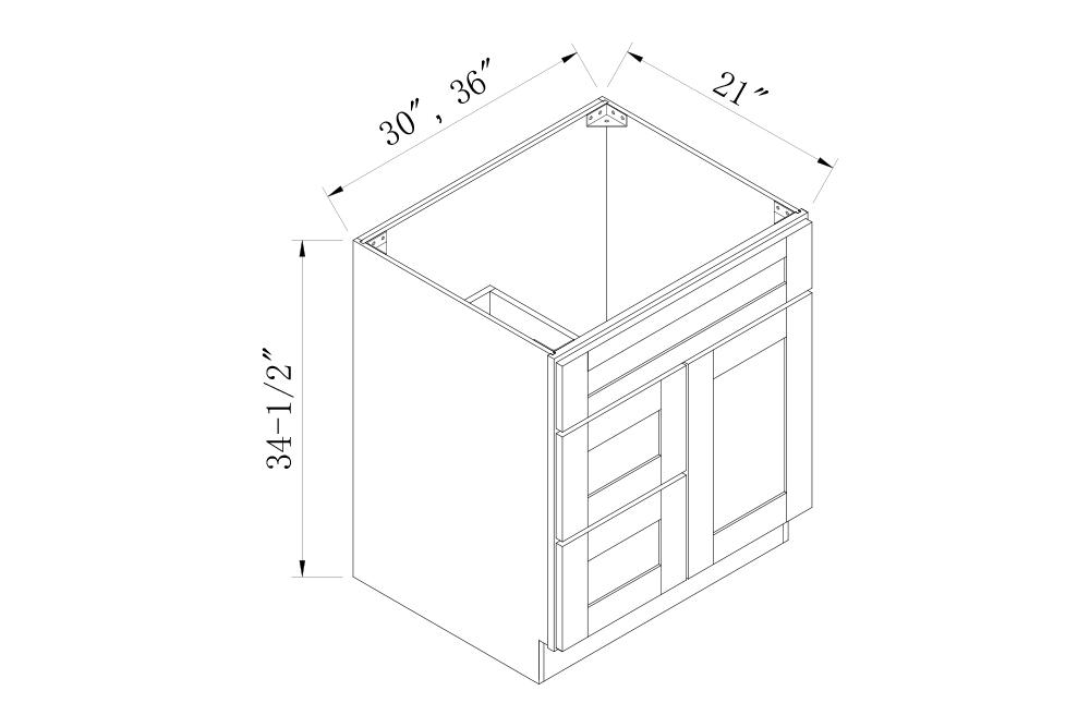 BATHROOM CABINETS - 36 Width Vanity Sink Base Combo Cabinets