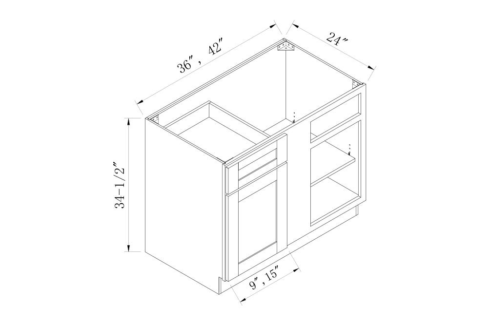 BASE CABINETS - 36 Width Blind Base Corner Cabinets