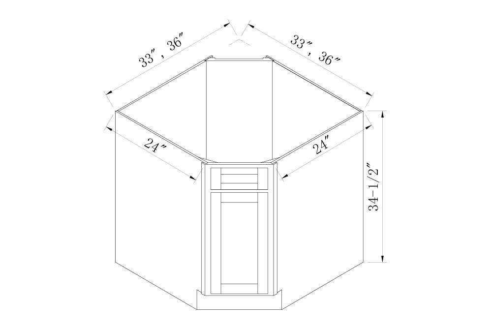BASE CABINETS - 33 Width Diagonal Corner Sink Base Cabinet