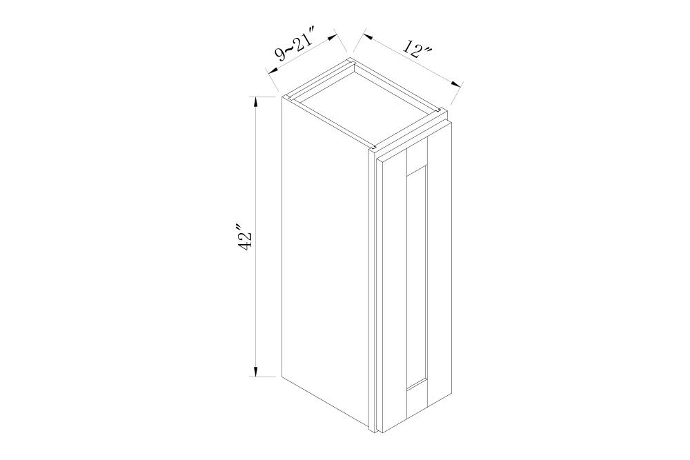 WALL CABINETS - 9 Width 42 High Single Door Wall Cabinets