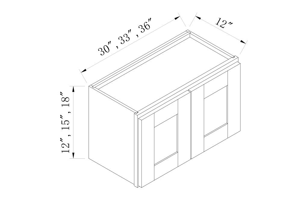 WALL CABINETS - 30 Width 12 High Double Door Bridge Wall Cabinets