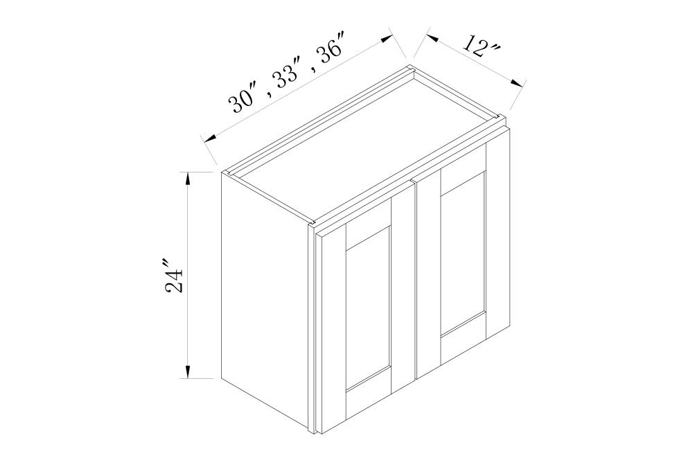 WALL CABINETS - 30 Width 24 High Double Door Bridge Wall Cabinets