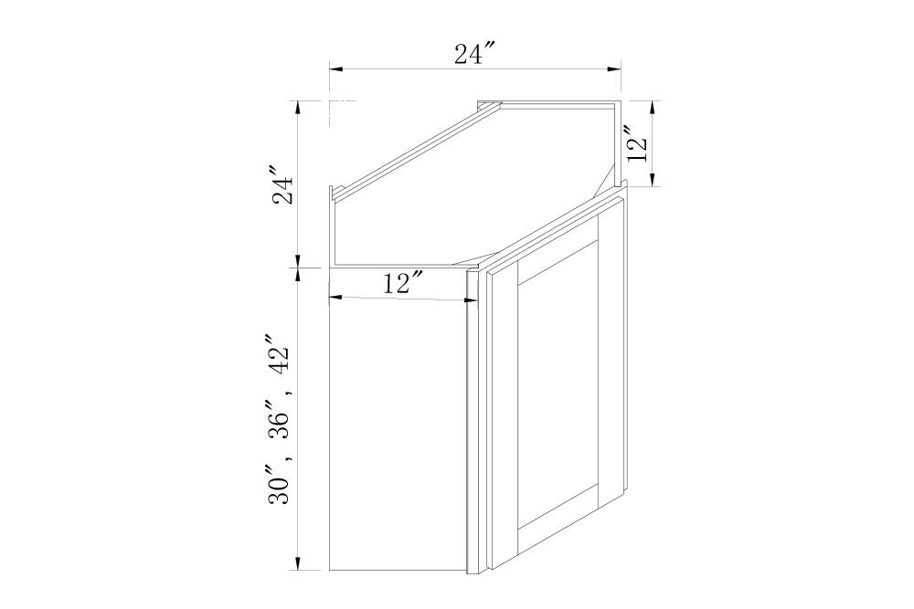 WALL CABINETS - 24 Width 30 High Diagonal Corner Wall Cabinets